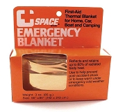 SPACE Brand Emergency Blanket, Orange/Silver