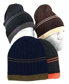 Acrylic Knit Rib Hat, Double-Stripe, Assorted Colors