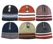 Ribbed Striped Beanie, Assorted Colors