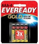 Eveready Gold Alkaline AAA 4 Pk, Box of 24.