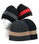 Big Stripe Acrylic Knit Rib Hat, Assorted Colors