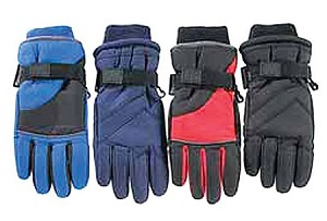 Youth Taslon Ski Glove, Size 4-7, Assorted Colors