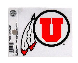 "Utah Utes Window Decal | Small Drum and Feather, 4"" Wide"